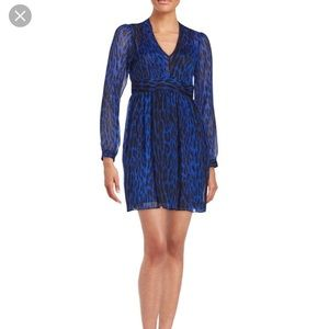 Michael Kora Blue Leopard Print Georgette Dress